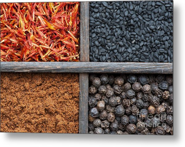 Spices Of India Pattern Metal Print