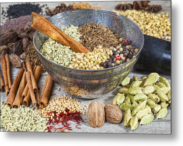Spices On A Rustic Board Metal Print
