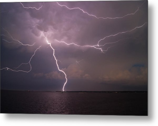 Spider Lightning Over Charleston Harbor Metal Print