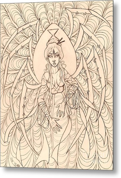 Spider Seer Sketch Metal Print by Coriander  Shea