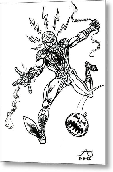 Spidey Dodges A Pumpkin Bomb Metal Print