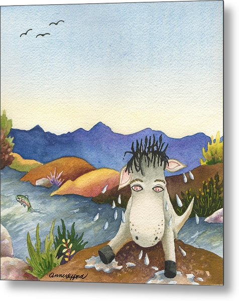 Spike Isn't Much Of A Swimmer Metal Print by Anne Gifford