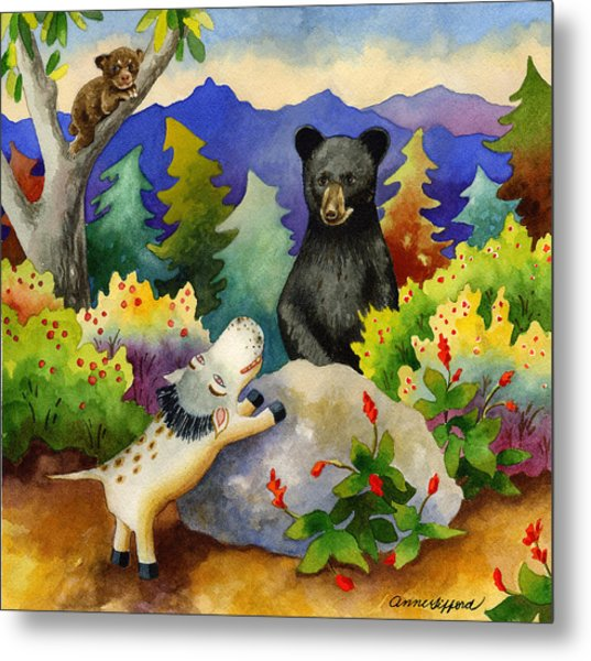 Spike The Dhog Encounters A Mother Bear In The Forest Metal Print by Anne Gifford
