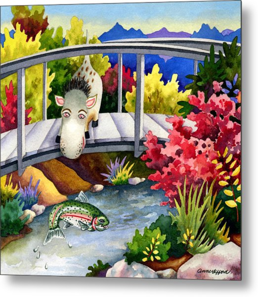 Spike The Dhog Watches A Jumping Trout Metal Print by Anne Gifford