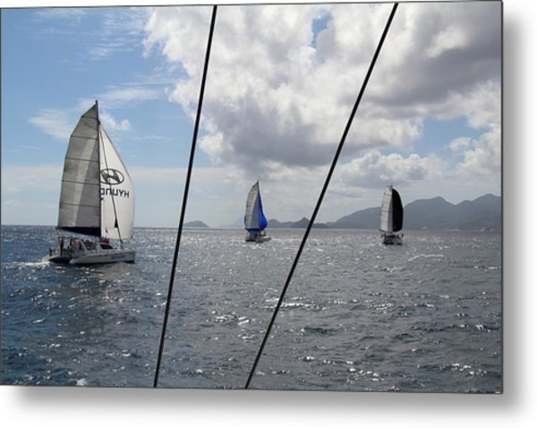 Spinnakers In The Seychelles Metal Print