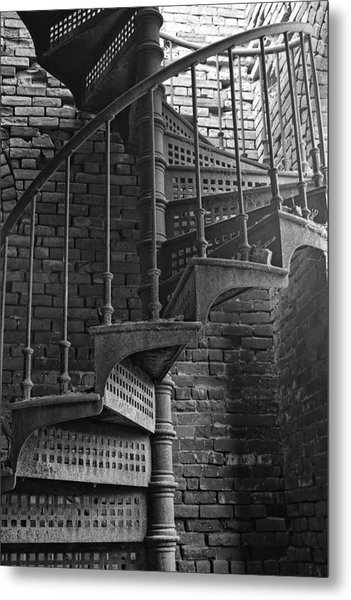 Spiral Staircase In B And W Metal Print