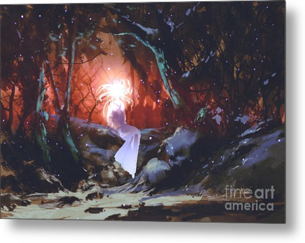 Spirit Of The Enchanted Forest,woman In Metal Print