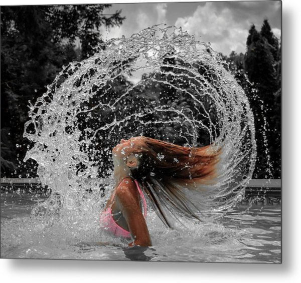 Hair Flip Splash Metal Print