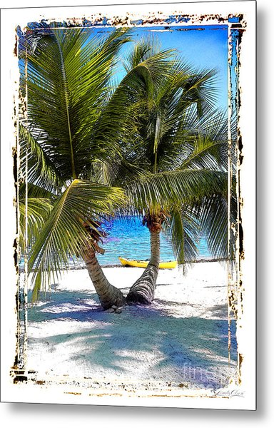 Split Palm With Kayak Metal Print by Linda Olsen