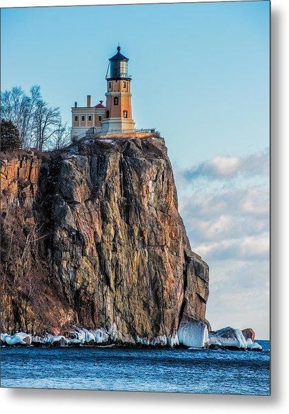 Split Rock Lighthouse In Winter Metal Print
