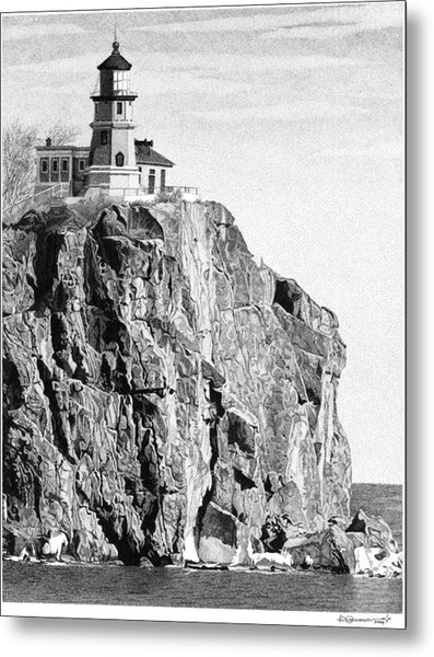 Metal Print featuring the drawing Split Rock Lighthouse by Rob Christensen