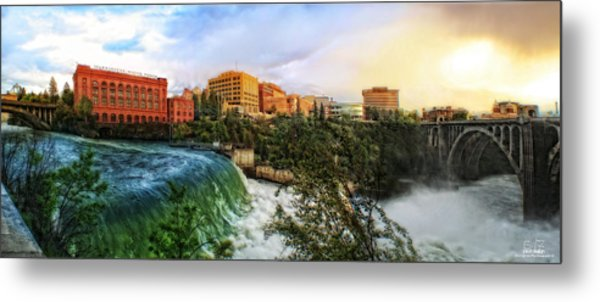 Spokane Falls City Skyline Metal Print by Dan Quam