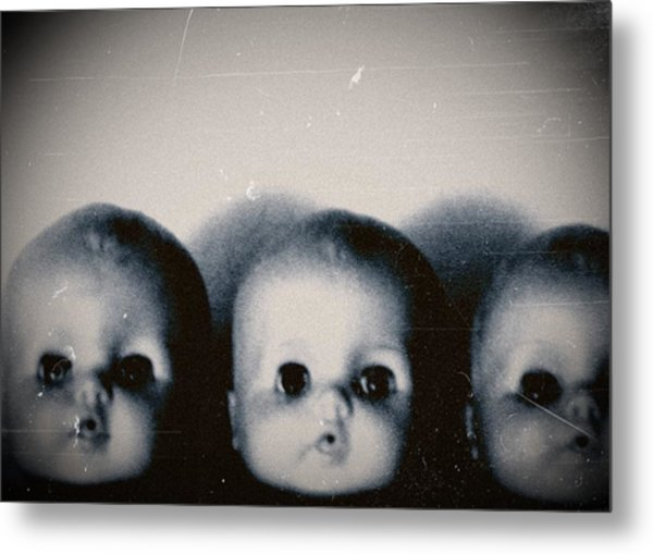 Spooky Doll Heads Metal Print