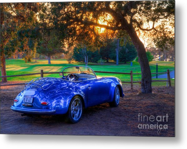 Sports Car Golf Course Sunset Metal Print