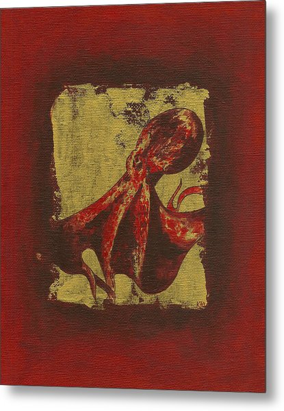 Spotted Red Octopus Metal Print