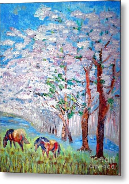 Spring And Horses 2 Metal Print