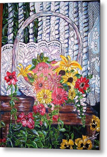 Spring Basket Metal Print by Linda Vaughon