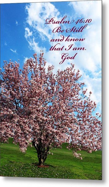 Spring Blossoms With Scripture Metal Print