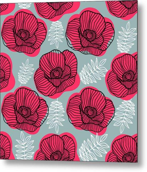 Spring Bright Seamless Floral Pattern Metal Print