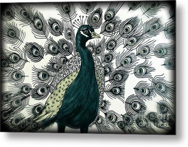 Spring Green Peacock Metal Print