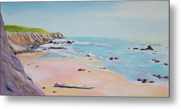 Spring Hills And Seashore At Bowling Ball Beach Metal Print