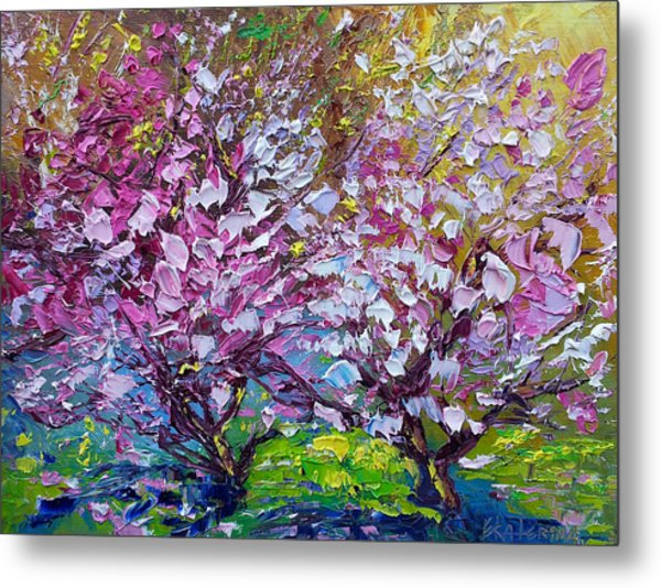 Spring Painting Of Pink Flowers On Magnolia Tree Fine Art By Ekaterina Chernova Metal Print