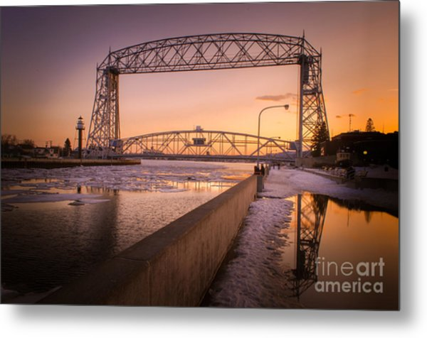 Spring Sunset In Canal Park Metal Print