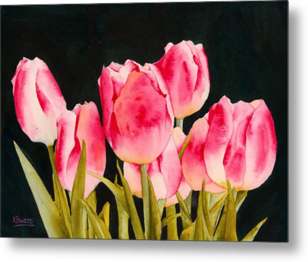 Metal Print featuring the painting Spring Tulips by Ken Powers
