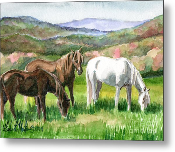Metal Print featuring the painting Spring Valley by Linda L Martin