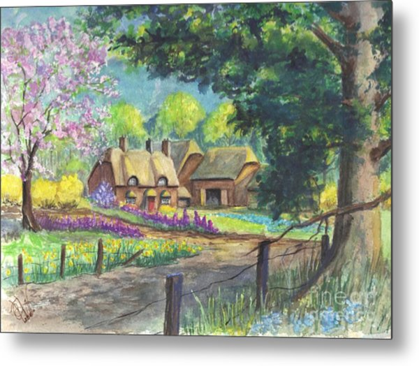 Springtime Cottage Metal Print