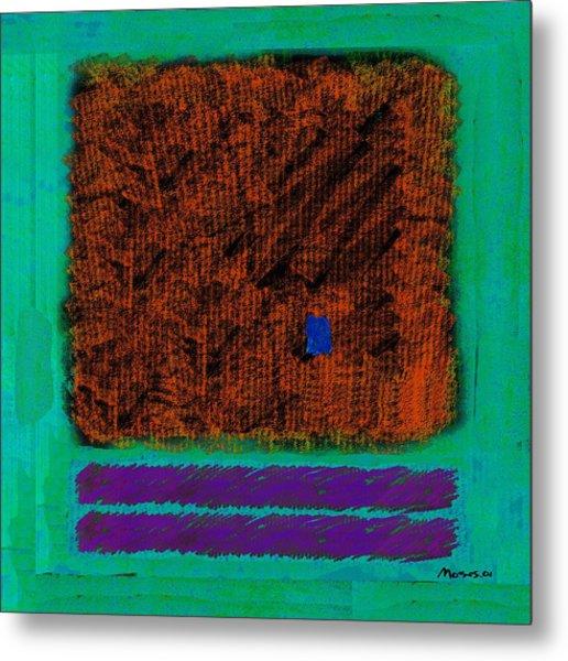 Square On Turquoise Metal Print