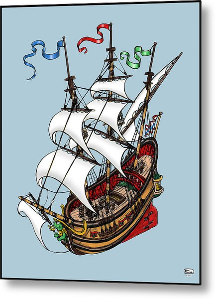 Square Rigged Wooden Ship Metal Print