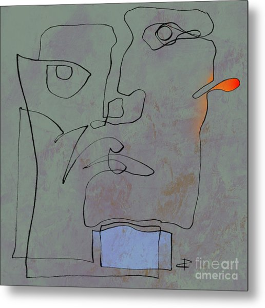 Squigglehead With Blue Scarf And Red Ear  Metal Print
