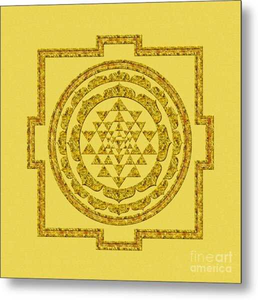 Sri Yantra In Gold Metal Print
