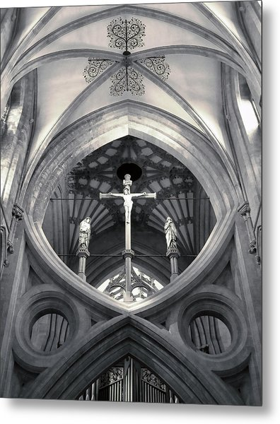 Metal Print featuring the photograph St Andrews Cross Scissor Arches Of Wells Cathedral  by Menega Sabidussi