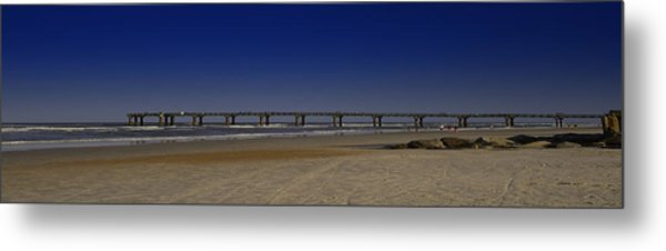 St Augustine Beach Pier Metal Print by Donnell Carr