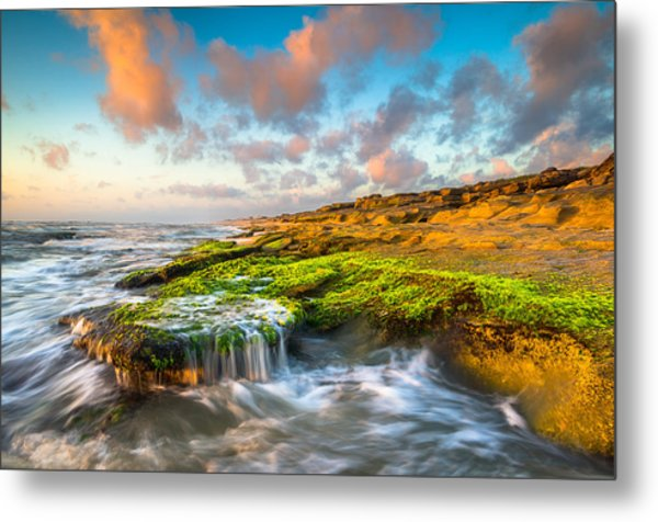 St. Augustine Fl Beach Sunrise - The Coquina Coast Metal Print