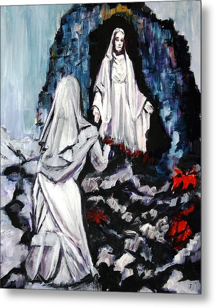 St. Bernadette At The Grotto Metal Print