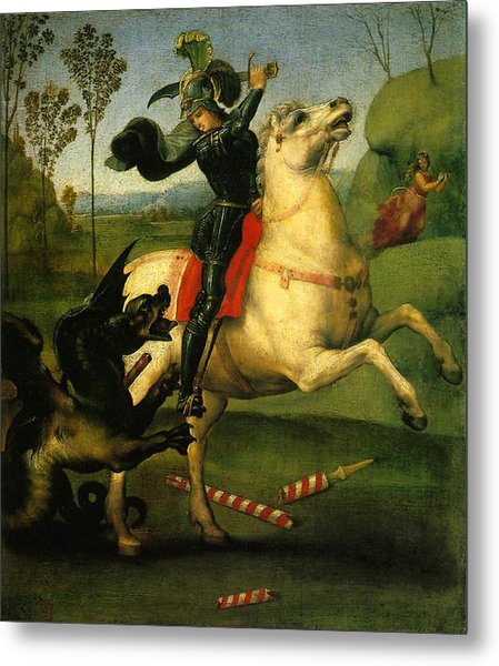 St George And Dragon Reproduction Art Work Metal Print