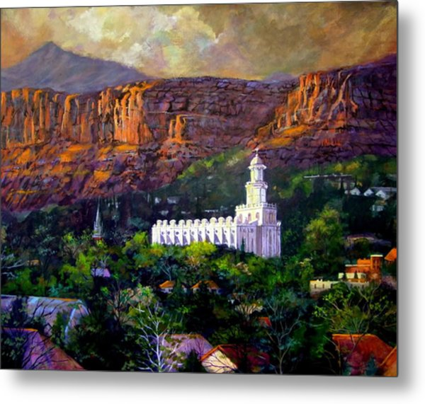St. George Temple Red Hills Metal Print