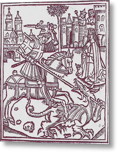 St. George - Woodcut Metal Print