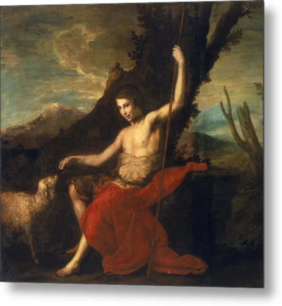 St. John The Baptist In The Wilderness Oil On Canvas Metal Print