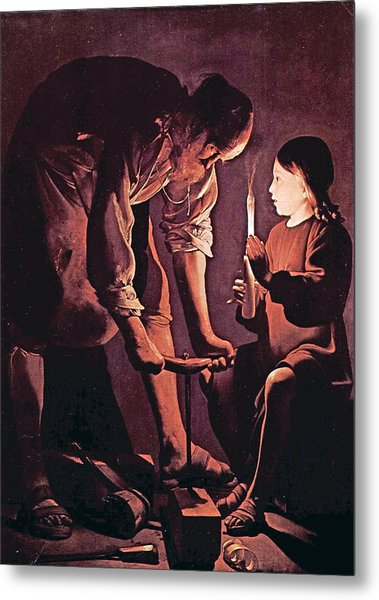 St Joseph As The Carpenter With Child Jesus Metal Print