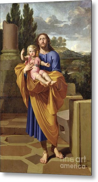 St. Joseph Carrying The Infant Jesus Metal Print
