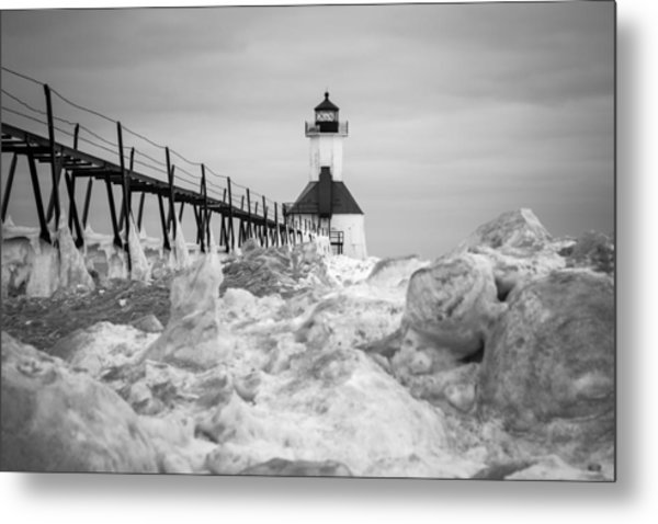 St. Joseph Lighthouse In Ice Field Metal Print