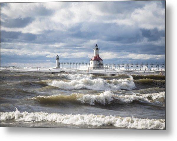 St Joseph Lighthouse On Windy Day Metal Print