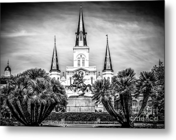 St. Louis Cathedral In New Orleans Black And White Picture Metal Print