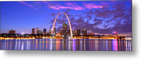 St. Louis Skyline At Dusk Gateway Arch Color Panorama Missouri Metal Print