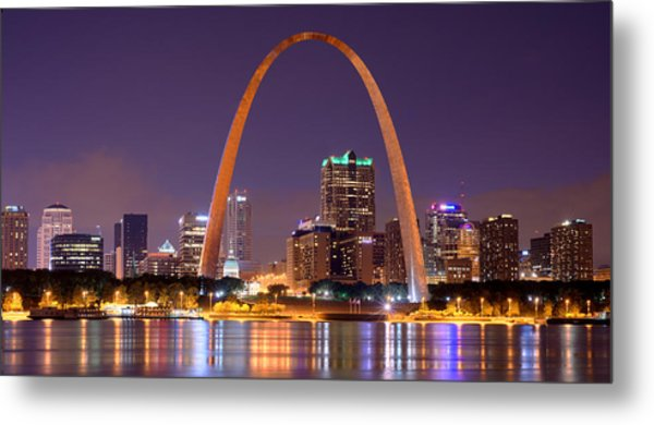 St. Louis Skyline At Night Gateway Arch Color Panorama Missouri Metal Print
