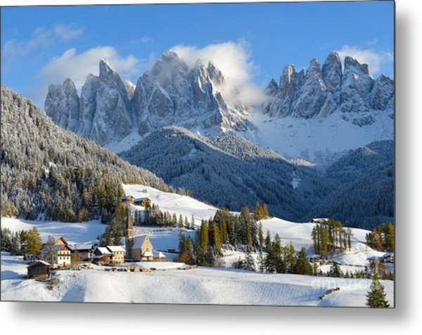 St. Magdalena Village In The Snow In Winter Metal Print